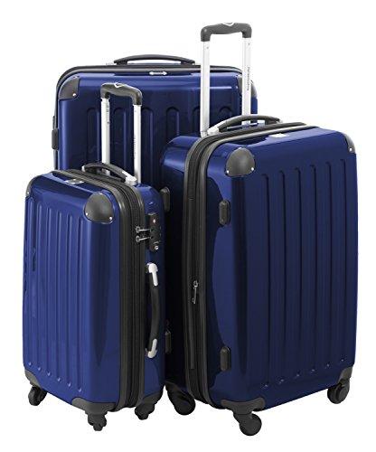 HAUPTSTADTKOFFER - Alex - 3er Koffer-Set Trolley-Set Rollkoffer Reisekoffer Erweiterbar, 4 Rollen, TSA, (S, M & L), Dunkelblau