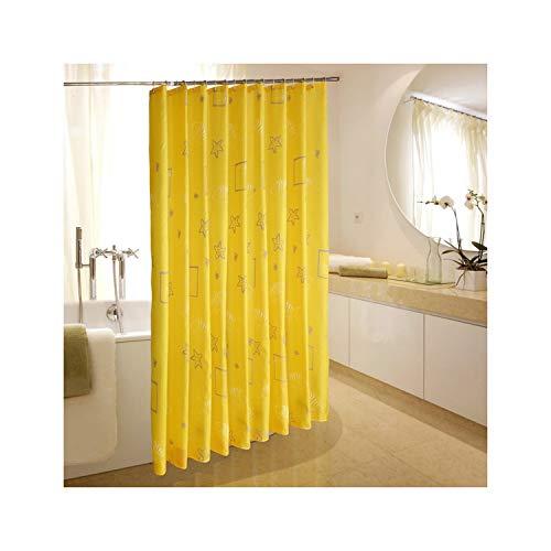 MaxAst Estrella Amarillo Cortina de Ducha Anti-Moho, 180x220CM Cortina de Baño Antibacteriano Impermeable con Anillos