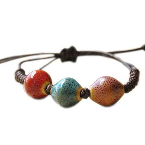 CHOUCHOU Collier Pendentif Bracelet, Bracelet en céramique Design Triangle Design Bracelet tissé Bracelet Bracelet de Mode féminine Cadeau ami (Marron) Cadeau de Noel