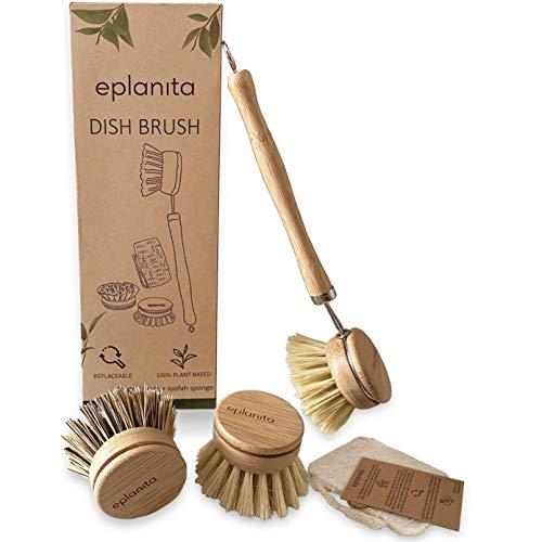 EPLANITA ® Spülbürste aus Bambus mit 3 Ersatzköpfe, Naturborsten aus Faser, Kompostierbar Schwamme inklusive, kunststofffreie Reinigung für Ihre Küche
