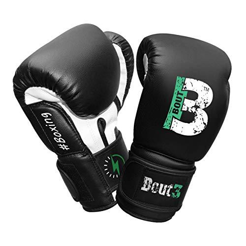 BOUT3® Kinder Boxhandschuhe | Kickboxen, Muay Thai Sparring, Training | Boxsack - Sandsack für Boxen | Kampfsport, Punchinghandschuhe Coachinghandschuhe für Jungen, Mädchen (6 Oz, Schwarz)