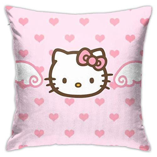 ChenZhuang Pink Wing Hello Kitty Throw Pillow Covers Decorative Cotton Pillowcases for Sofa Couch Bed Soft Pillow Cases 1.