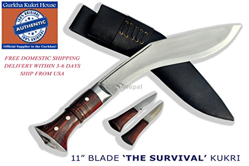 Authentic Gurkha Knife - 12' Blade World War II 'the Survival alive' Kukri Full Tang with Black Leather Sheath-Handmade by Gurkha Kukri House(GKH) in Nepal -Warehoused & Ship from USA