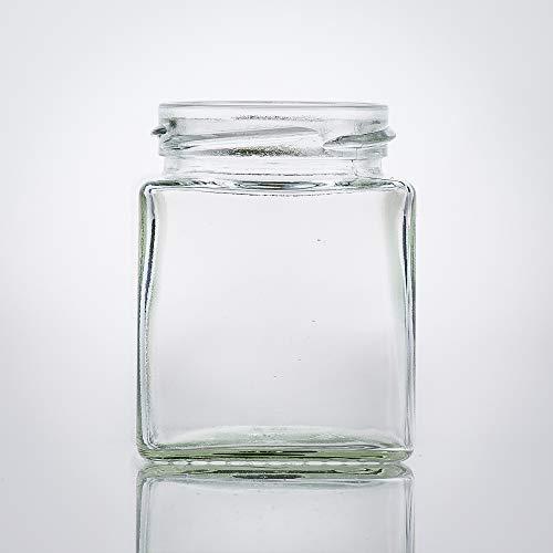 Flaschenbauer - 9 Mini Einmachgläser klein 212 ml Vierkant Gläser mit Schraubverschluss to 58 Silber - Mini Gläser mit Deckel perfekt als Mini Marmeladengläser klein, Honiggläser Mini