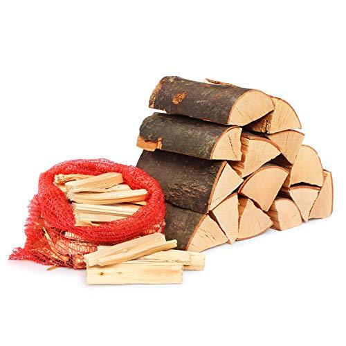 25kg Kaminholz Brennholz 25cm 100% reine Buche inkl. Anzünder Kaminanzünder ofenfertig, Kaminofen, Lagerfeuer, Feuerholz