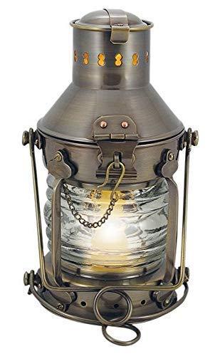 linoows Ankerlaterne, Elektro Lampe, Nautik Lampe, Schiffslaterne, Altmessing