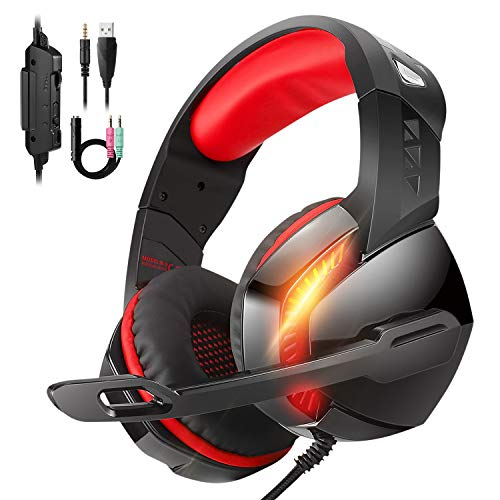 Stereo 7.1 Surround Sound 3.55 mm Gaming Headset, for PS4 Xbox One PC Controller Nintendo Switch Games, PHOINIKAS H3 Noise Cancelling Headphones, Over Ear Headphones with Mic LED Light (Red)