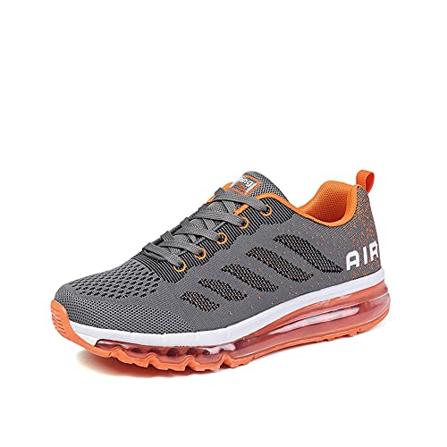 Zapatillas Running Hombre Mujer Deportivas Air Zapatos Deportivos Transpirables Sneakers Calzado Deporte Correr Gimnasio Aire Libre Tenis Asfalto Negro Blanco 833GrisNaranja 34