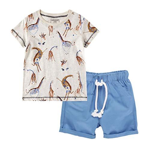 Baby Jungen Blumen Drucken T-Shirt Tops + Cartoon Streifen Hose Outfits