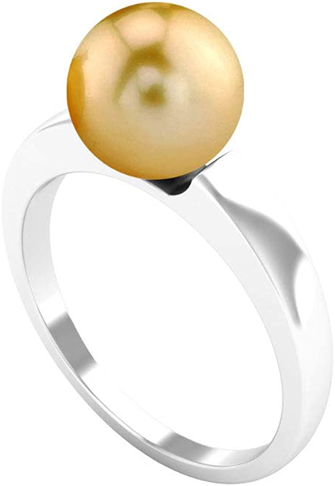 8 MM Pearl Solitaire Ring, Gold and Pearl Ring, Single Stone Ring 14K White Gold