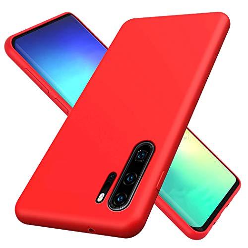 TXLING Funda para Huawei P30 Pro Original Slim Líquido [Anti-Arañazos]de Silicona Gel [Anti-Arañazos] Carcasa Calidad Huellas Dactilares Totalmente Protectora Caso Cover Case Rojo