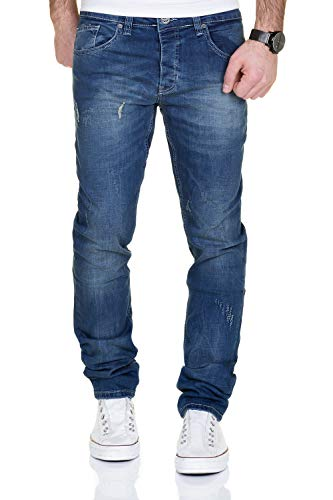 MERISH Jeans Herren Slim Fit Jeanshose Stretch Designer Hose Denim 9148-2100 (32-32, 2100 Blau)