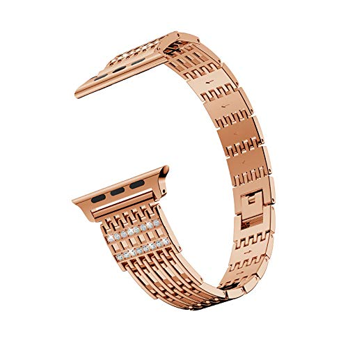 Fhony Correa Compatible con Apple Watch 38mm 40mm 42mm 44mm Ajustable Correa Acero Inoxidable Diamantes Correas de Recambio Pulseras para Iwatch Series 6 5 4 3 2 1 SE,Rose Gold,42/44mm