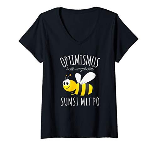 Damen Sumsi mit Po Optimismus Imker Bienen Honig Lustiges Spaß T-Shirt mit V-Ausschnitt