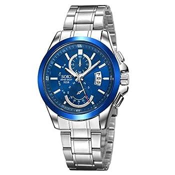 COOKI Men s Watch Fashion Business Luxury Wristwatch Analog Quartz Stainless Steel Watch Casual Dress Classic Watch for Men