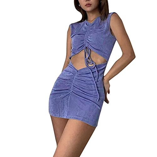 KIACIYA Vestito Y2K Aderente Donna Sexy Vestito Estivi Aderente A Pieghe Irregolare Senza Spalline Bodycon Mini Corti Fionda Natiche Ricche Elegante Casual Dress (blue,L)