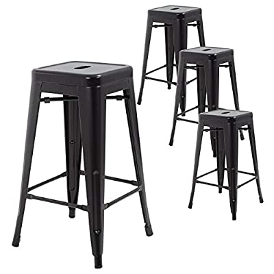 "FDW Metal Bar Stools Set of 4 Counter Height Barstool Stackable Barstools 24 Inch 30 Inch Indoor Outdoor Patio Bar Stool Home Kitchen Dining Stool Backless Bar Chair (Black, 30"")"