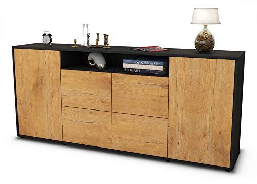 Stil.Zeit Sideboard Ephenia/Korpus anthrazit matt/Front Holz-Design Eiche (180x79x35cm) Push-to-Open Technik