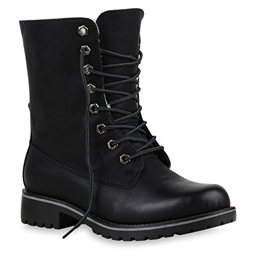 Warm Gefütterte Damen Stiefeletten Worker Boots Kunstfell Schuhe 125211 Schwarz Glatt 41 Flandell