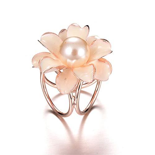 AILUOR Enamel Pearl Camellia Flower Silk Scarf Ring Clips Scarves Buckle(White)