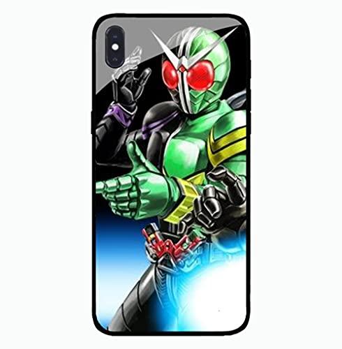 Estuche para Teléfono con Cordón Cubierta Protectora De Brillo Nocturno Carcasa De Vidrio Templado Antifricción Serie 3D Anime Masked Rider Compatible con iPhone 6S