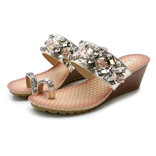 LONG-M Mujer Pulgar del Pie Hueso Correccion Zapatos Cuero Fondo Grueso Pendiente Zapatos De Remolque Temporada De Verano Playa De Arena Zapatos,38