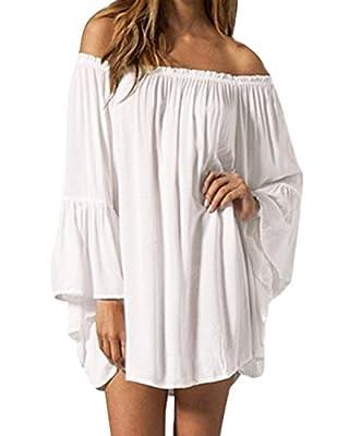 ZANZEA Women's Sexy Off Shoulder Chiffon Lace Ruffle Sleeve Blouse Mini Dress Summer Beach Cover Up Sundress White XL