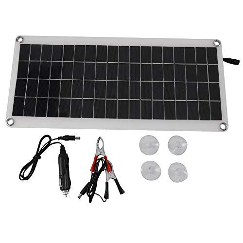 Kaxofang Panel Solar 25W 12V Doble USB Tablero de Banco de EnergíA PortáTil Carga de BateríA Externa Tablero de CéLula Solar Clips de Cocodrilo Cargador de Coche
