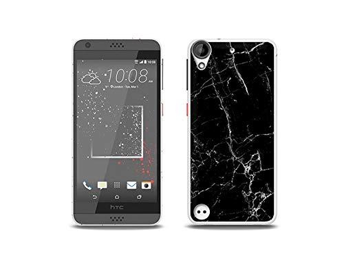 etuo Handyhülle für HTC Desire 530 - Hülle, Silikon, Gummi Schutzhülle - Schwarze Marmor