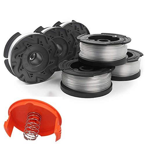 KF Line - Carrete de repuesto para desbrozador de hilo (30 pies), color negro y Decker AF-100, bobinas de alimentación de malas hierbas (6 carretes, 1 tapa, 1 resorte)