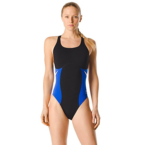 Speedo Women's Swimsuit One Piece Endurance+ Super Pro Color Block Adult Team Colors Black/Blue, 24