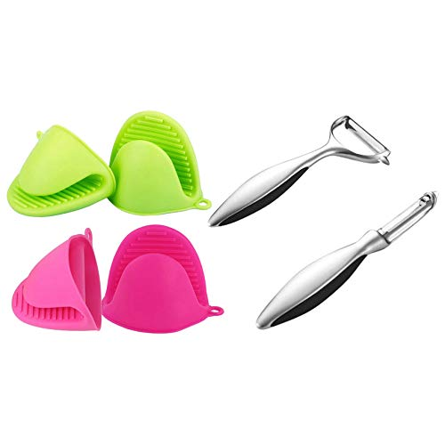 PQZATX 2 Pairs Silicone Heat Resistant Cooking Pinch Mitts & 1 Pcs Vegetable Peelers for Kitchen, Y-Shaped and I-Shaped Peeler