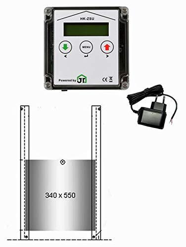 JOSTechnik JT-HK automatische Gänseklappe 340 x 550 mm mit Zeitschaltuhr und echter Nothaltefunktion