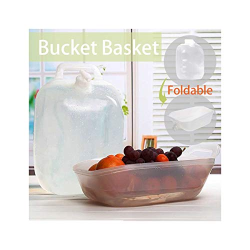 Hunpta Collapsible Basket,Dual-Purpose Water Barrel Fruit Baskets,Magic Buckets with Water Faucet Can Be Folded As Handy Basket,for Travel Camping Picnic (Clear)