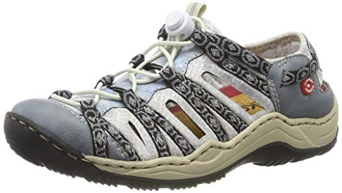 Rieker Damen L0577-12 Sneaker, Blau (Adria/Heaven/Schwarz-Grau/Silverflower 12), 39 EU