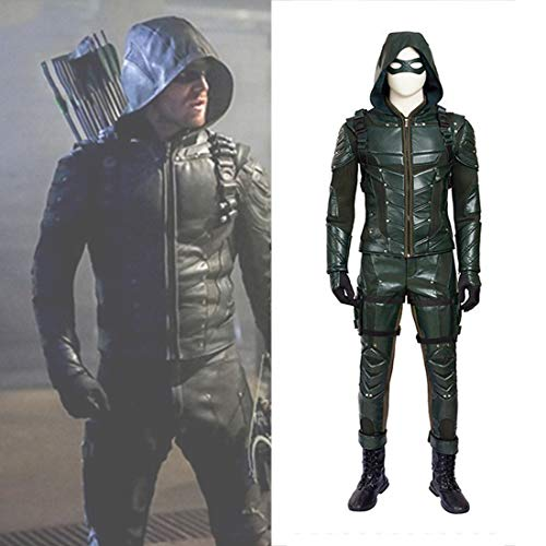 Rubyonly Costume Green Arrow Hommes Costume de Luxe Outfit Adulte Halloween Carnaval Cosplay Costume pour Les Hommes Custom Made,Whole Set,M