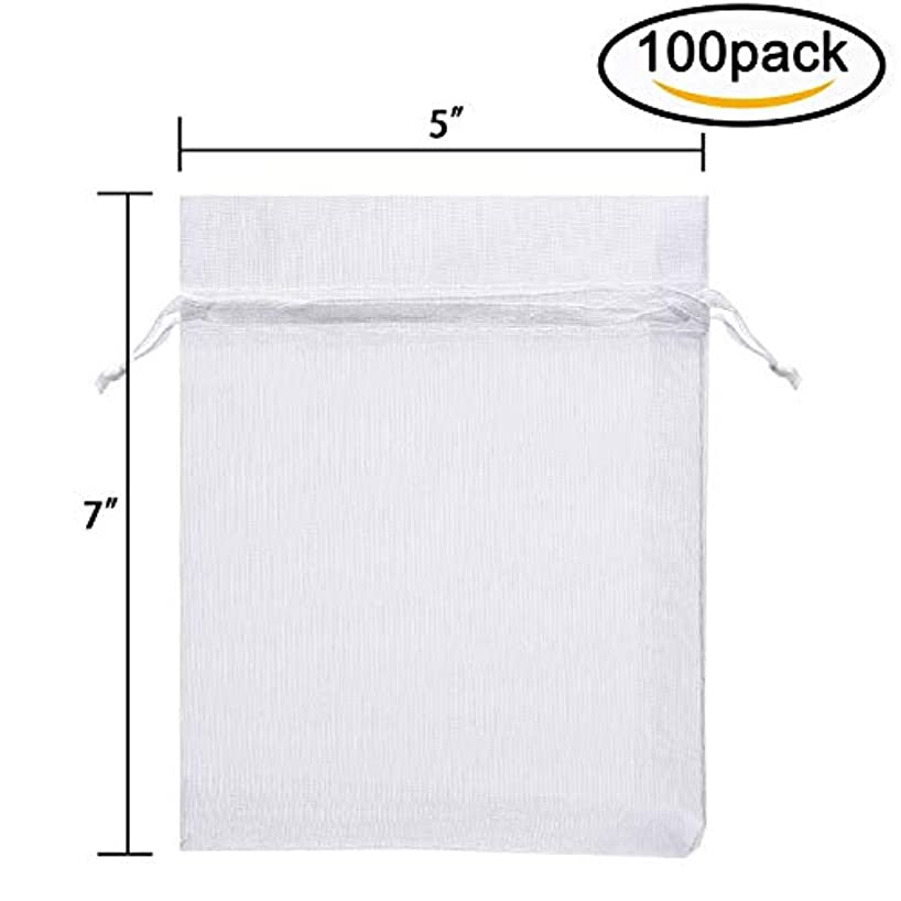 Hengu 100Pcs 5x7 Inches White Sheer Drawstring Organza Candy Jewelry Pouches Wedding Party Christmas Favor Gift Bags