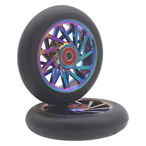 aibiku Rueda hueca de 110 mm – Rodamientos ABEC 11 instalados – Rueda Pro Stunt para patinete TBF/Fuzion/BoldCube/Land Surfer Stunt Scooter – 2 piezas (colorido/negro)