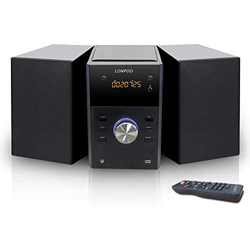 LONPOO Stereo Shelf System Hi-Fi Sound Speaker CD Player 30W RMS Micro Component System with Remote Control, Bluetooth, FM Radio, USB MP3 Playback & Aux-in,Black