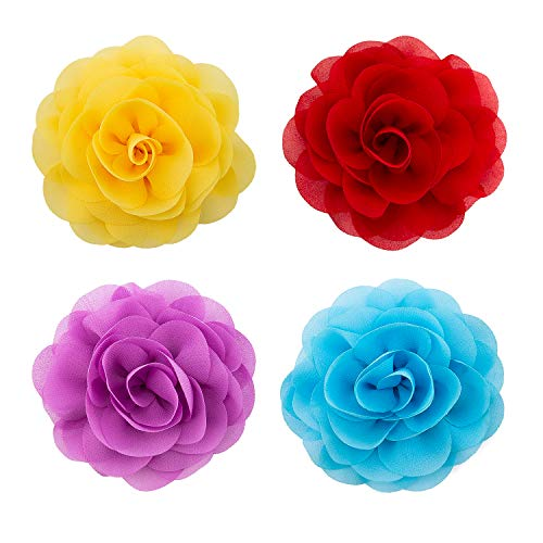 LUTER 4pcs Pet Collar Flowers Multicolored Dog Flower Tie&Bow Floral Collar Charms Accessories, Detachable Flower Embellishment for Cats, Dogs, Pets Supplies (8cm / 3.14inch)