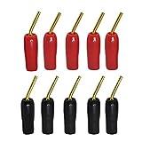 CERRXIAN Conector de cable de audio chapado en oro de 2 mm tipo banana tipo tornillo para altavoz, color negro y rojo, paquete de 10