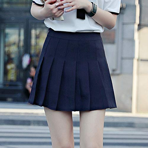 MIBKLPG Vrouwen Hoge Taille A Lijn Rok Geplooide Effen Kleur Denim Rokken Schooluniform Rok