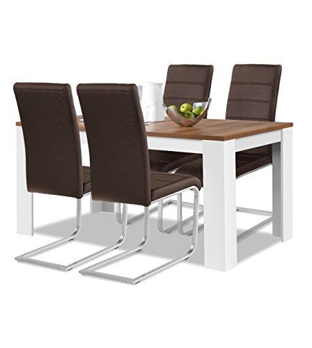 agionda® Esstisch Stuhlset : 1 x Esstisch Toledo 140 x 90 Nussbaum/Weiss 4 Freischwinger Kunstleder PU braun
