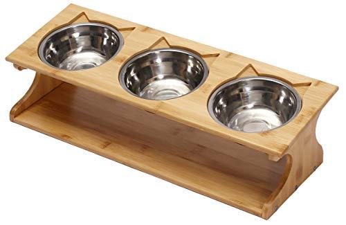 Geyecete - Acciaio inossidabile Ciotola per per gatti e cani, Stazione di Alimentazione per cucciolo e gattini con supporto in legno ,Grande per Acqua/Cibo per animali domestici-3 ciotola