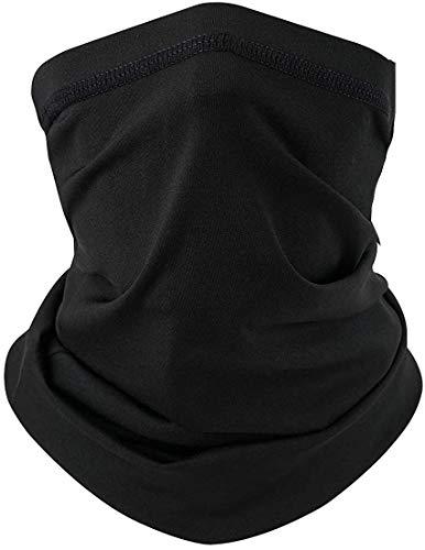 Neck Gaiter Cool Face Mask for Men & Women UPF 50+ Face Coverings Summer Neck Mask Gator Black