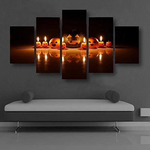 RAINSGIFT 5 Panel Painting Wandposter auf leinwand wandbild Kürbis-Smiley-Emoji-Kerze Kunstwerk druckenwohnzimmer Dekoration Geschenk