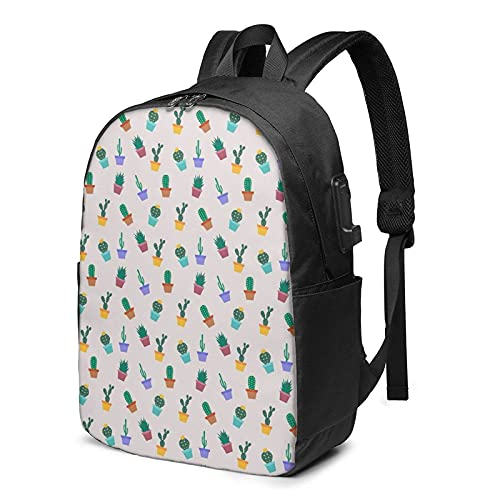 AOOEDM Mochila para portátil con puerto de carga USB lindo de dibujos animados Cactus Garden Travel Business Bags de 17 pulgadas para hombres y mujeres, escuela, universidad, mochila de ordenador