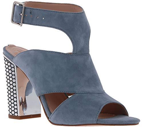 Guess Schuhe Pumps mit Nieten besetzte Damen Echtleder Absatz-Sandaletten Sandale Abend-Schuhe Blau, Größe:35