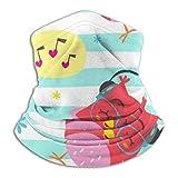 Akhy Multifunctional Headwear Face Mask Headband Neck Gaiter Cartoon Style Striped Owl Punchy Pastel Balaclava for Men and Women