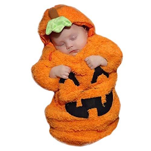 Pyjama Saco de dormir para bebé recién nacido, niños y niñas, manga larga, estampado de calabaza, de felpa, mameluco para bebé y niño, manta para bebé, saco de dormir, para bebés de 0 a 12 meses